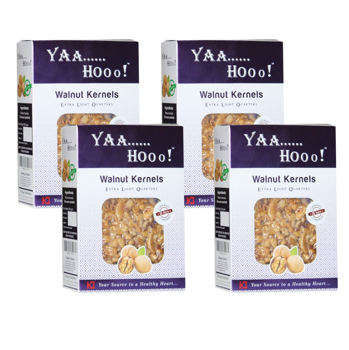 Yaahoo ! Extra Light Quarters Walnuts Kernels 1 KG (250 gmX4) Without Shells