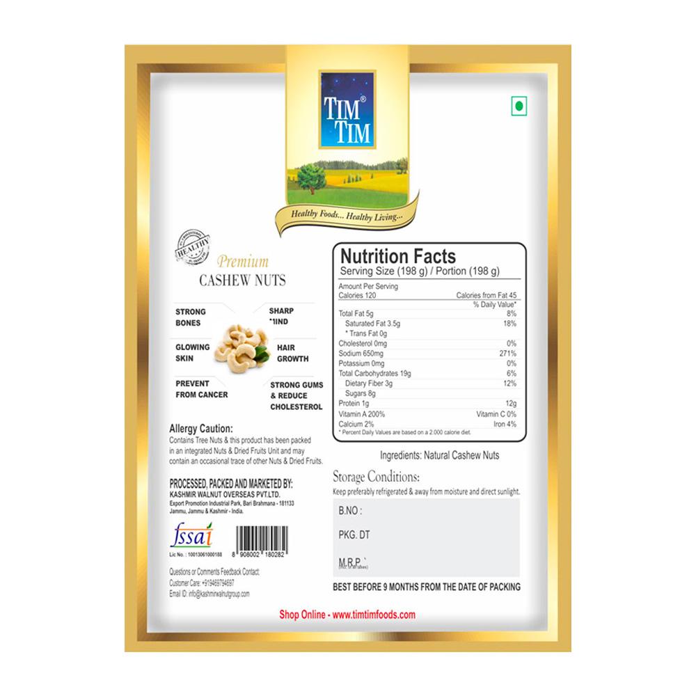 Tim Tim Premium Cashew Nuts (Kaju) - 500 gm