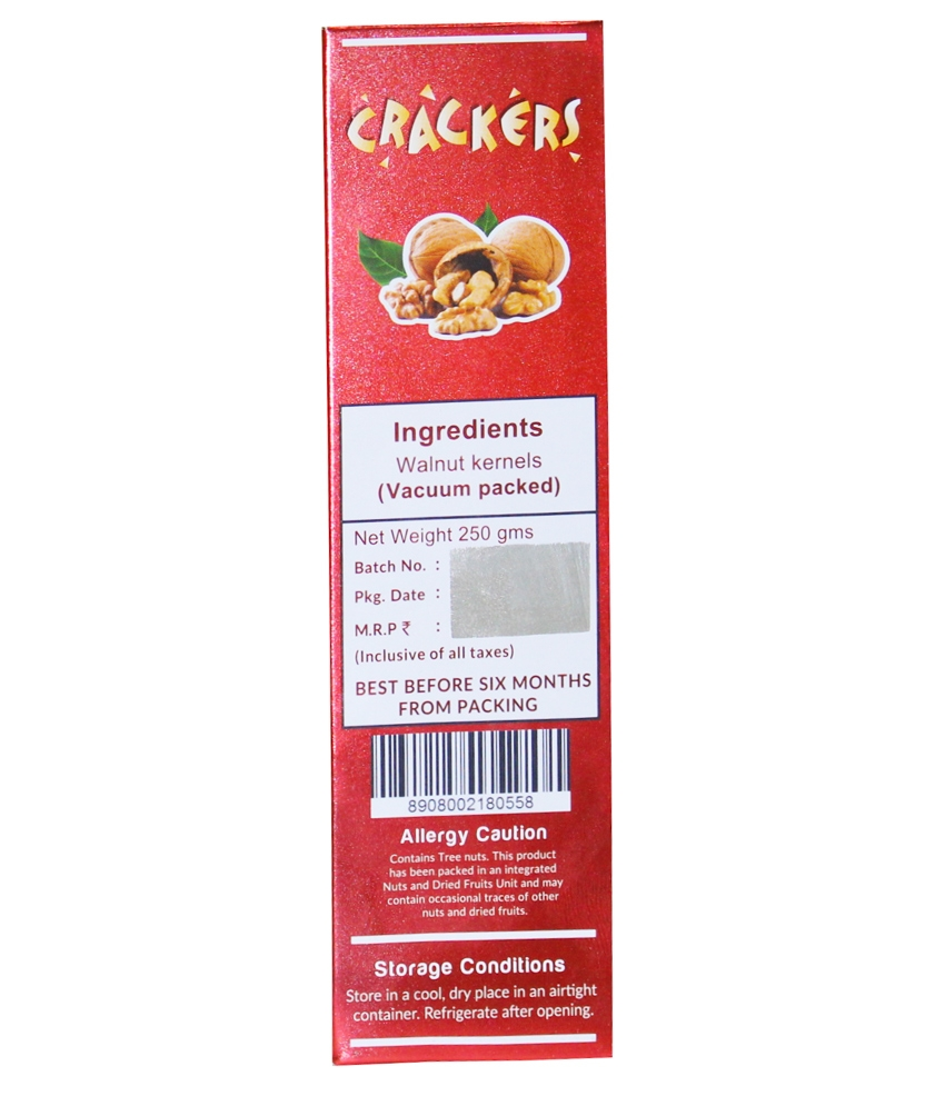 Go Crackers Kashmiri Brown Walnuts Kernels Without Shell -Pack of 2 x250 g