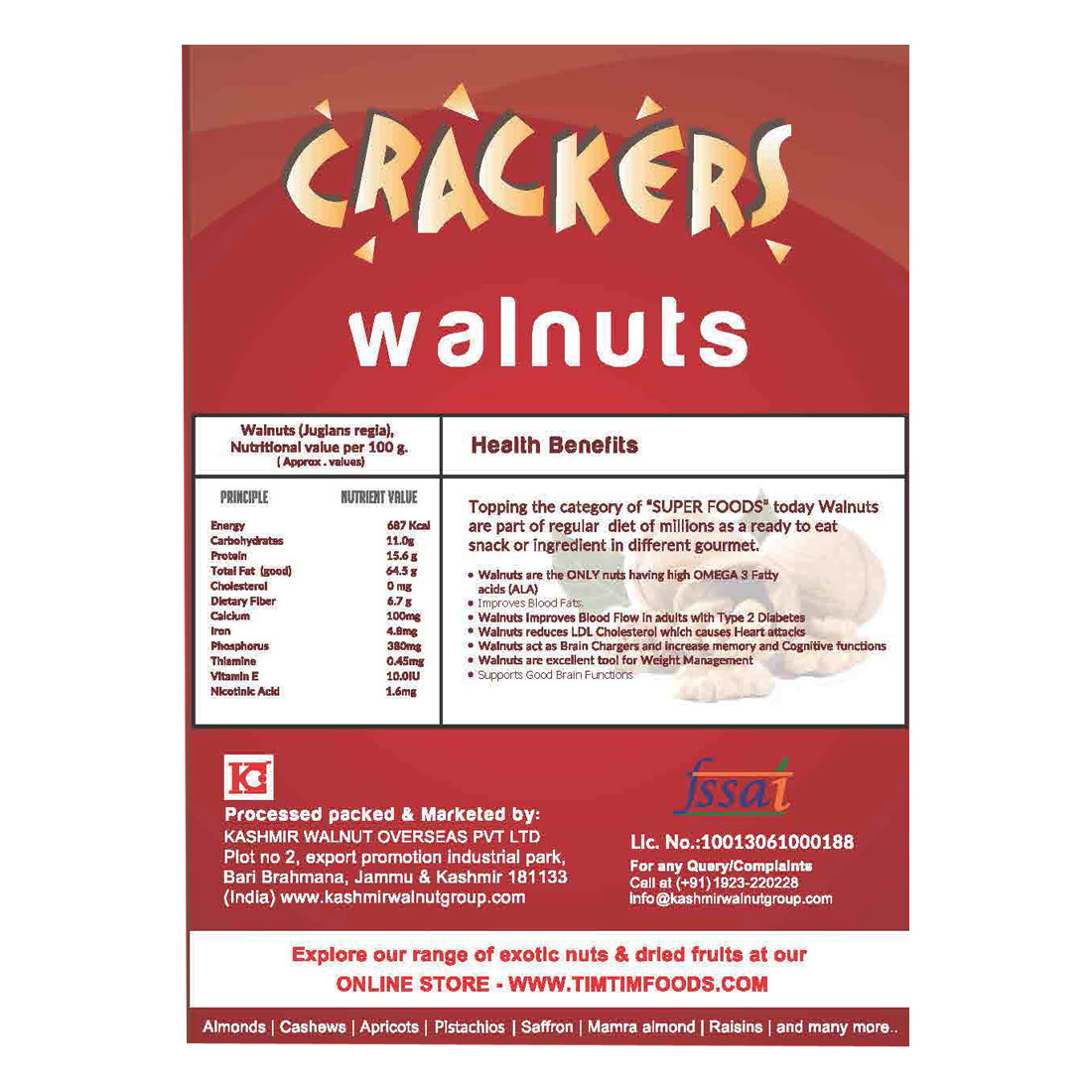 GO Crackers Kashmiri Brown Walnuts (Akhrot) 1 Kg (250gm x 4)-Without Shell
