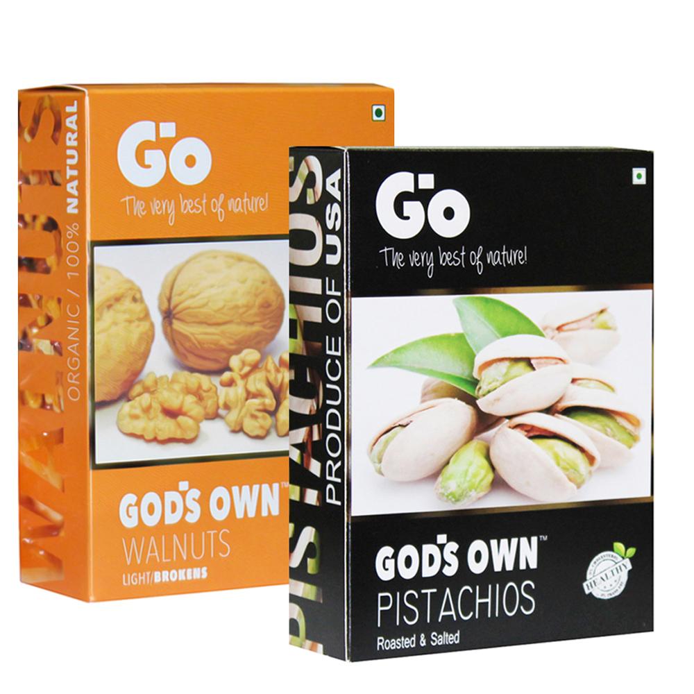 USA Pistachios 250g and Organic Light Broken Walnuts Kernels 250g