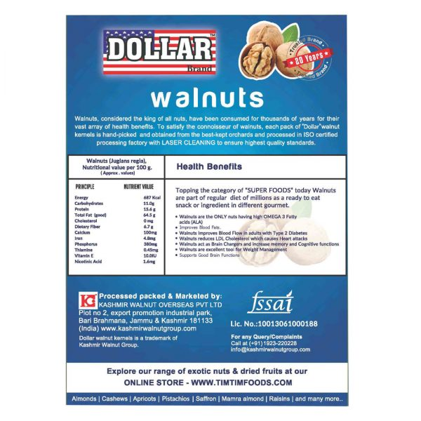 Dollar Brand Selected Walnut Kernels of kashmir 1 Kg -250g X 4