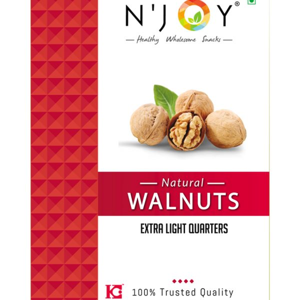 N'Joy Natural Extra Light Quarters Walnuts Kernels 250 Gm (pack of 4)