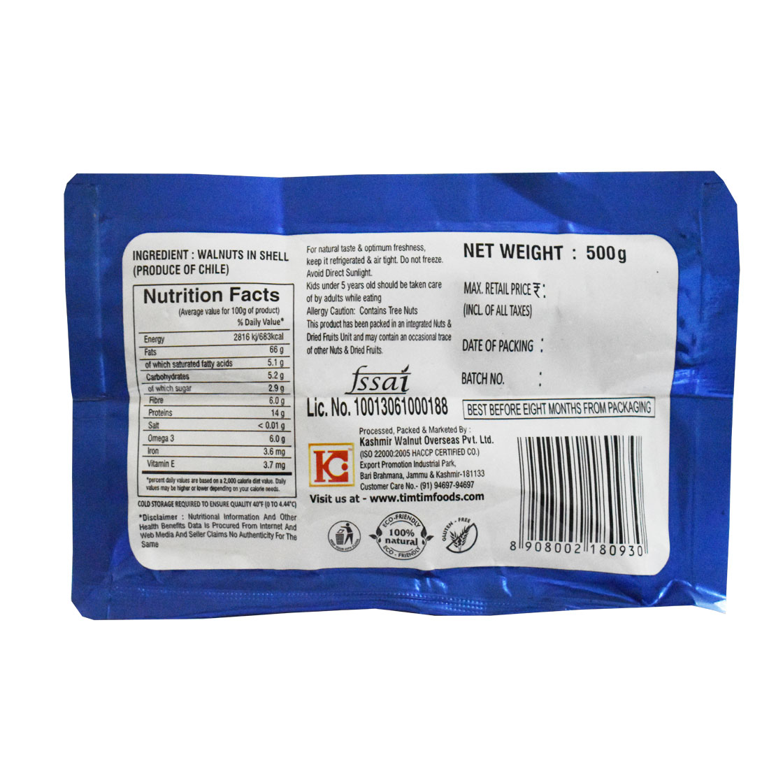 Tim Tim Chile Walnuts Inshell (Soft Shell) 500 gm