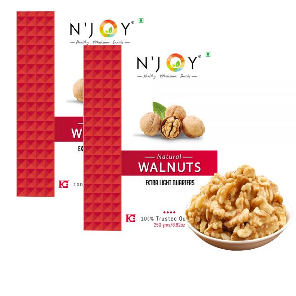 N'Joy Natural Extra Light Quarters Walnuts Kernels, Pack of 2, 250gm Each