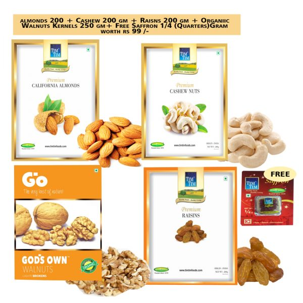 Premium Almonds 200gm & Premium Cashew Nuts 200 Gm & Walnuts Kernels(Go LB) 250gm & Premium Raisins 200gm + Free Saffron 1/4 Gms worths Rs 99/-