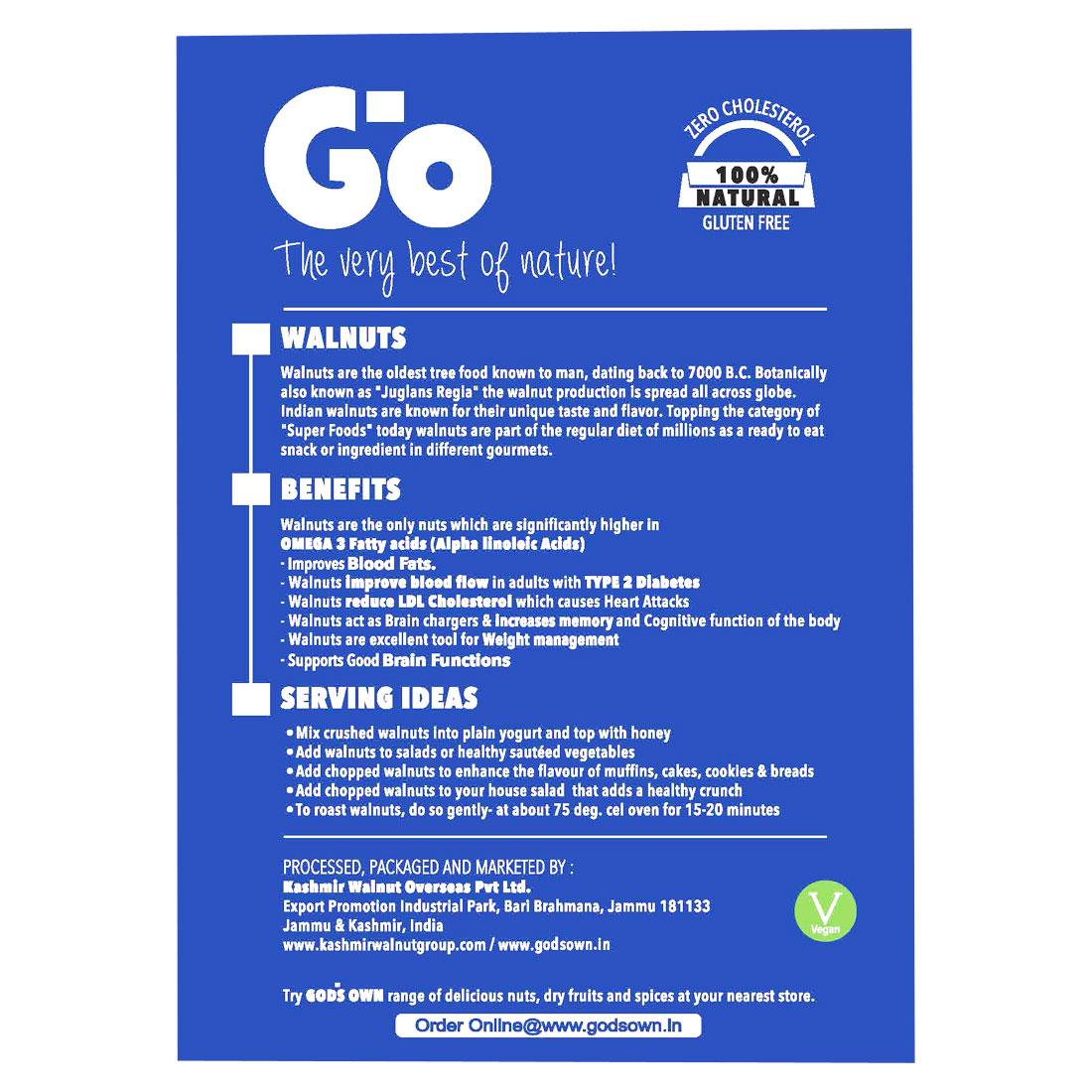 GO Organic Light Quarters Walnuts 1 kg(250gmx4)-Without Shell.