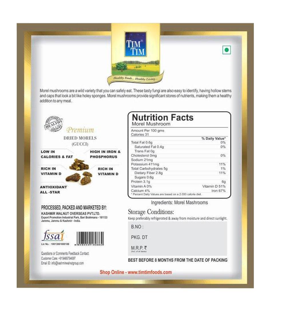 Organic Kashmir Morel Mushroom 50gm (Gucci Mushroom)