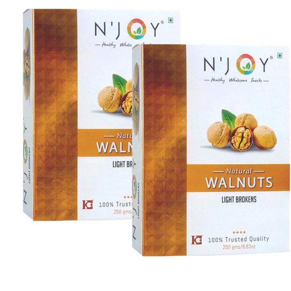 N'Joy Natural Light Broken Walnuts Kernels Pack of 2, 250g each